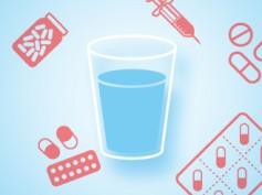 Czym popijać leki? Wodna infografika